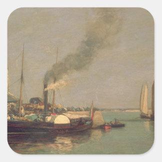Honfleur。 La Jetee 1854-57年(パネルの油) スクエアシール