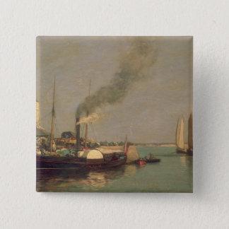 Honfleur。 La Jetee 1854-57年(パネルの油) 5.1cm 正方形バッジ