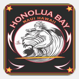 HONOLUA湾のマウイハワイのサーフィン スクエアシール