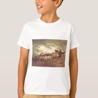 Honore Daumier著馬が引く Tシャツ