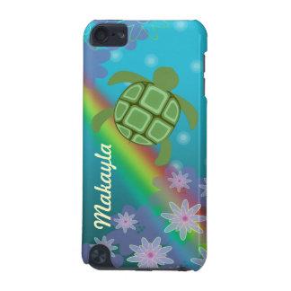 Honuのウミガメの熱帯水泳の虹および花 iPod Touch 5G ケース