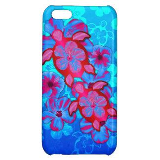 Honuの熱帯カメおよびハイビスカスの花 iPhone5Cケース