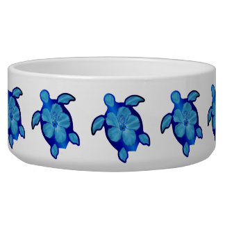 Honuの青いカメおよびハイビスカス 犬用水皿