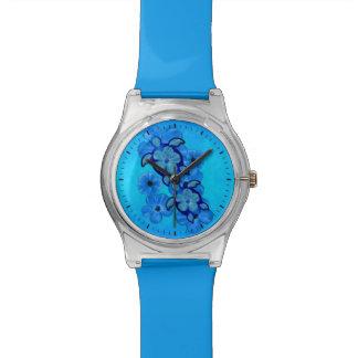 Honuの青いハイビスカスおよびカメ 腕時計