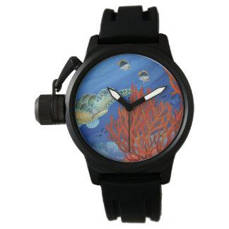 Honu (緑のウミガメ)および黒い珊瑚 腕時計