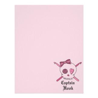 Hook Skull大尉及びかぎ針編みホック(ピンクの背部) レターヘッド