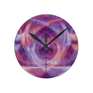 Ho'oponoponoの紫色の煙 ラウンド壁時計