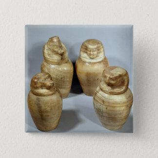Hor irオウム、Saite (アラバスター)のカノプス壺 5.1cm 正方形バッジ