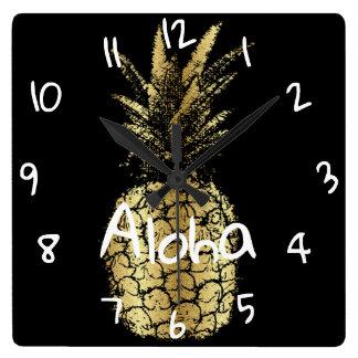 horloge murale carré Ananas スクエア壁時計