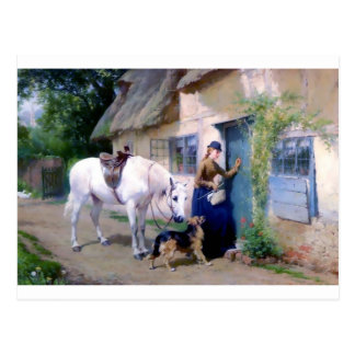 Horse女性ジャーマン・シェパードのコテージの訪問者 ポストカード
