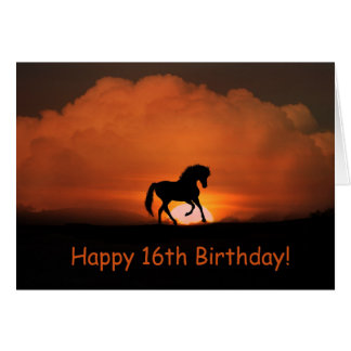 Horse Happy 16th Birthday Card カード