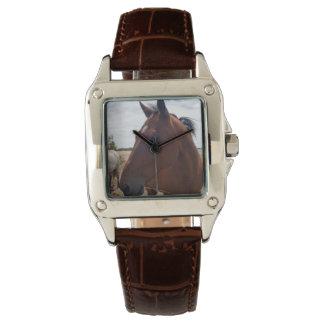 Horse_Magic、_Ladies_Brown_Leather_Square_Watch. ウォッチ
