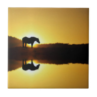 Horse Sunrise Reflection in Water Art Tile タイル