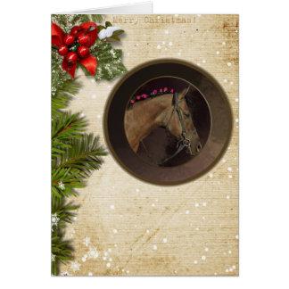 Horse Theme Christmas Card & White Envelope カード