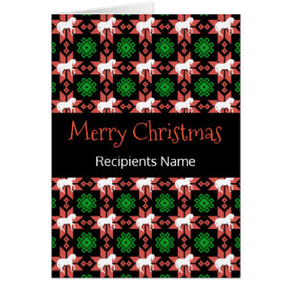 Horses Christmas Card - Merry Christmas Pattern カード