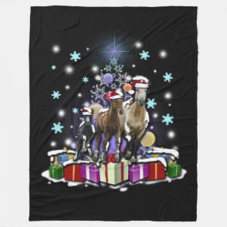 Horses with Christmas Styles フリースブランケット