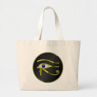 Horusの目のRAのエジプトのエジプトの金ゴールドのスピリチュアル ラージトートバッグ