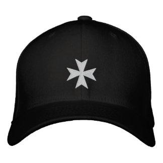 Hospitallersの黒によって刺繍される十字の帽子 刺繍入りベースボールキャップ