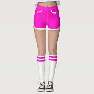 Hot Pink Retro Short Tube Socks Leggings レギンス