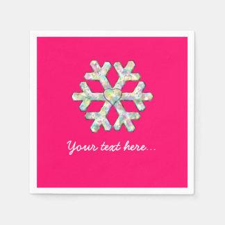 Hot Pink Snowflake Pink Christmas スタンダードカクテルナプキン