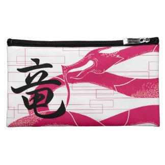 Hotpinkのドラゴンの日本のなドラゴンの白の背景 コスメティックバッグ