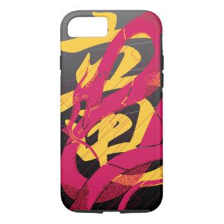 Hotpinkのドラゴンの日本のなドラゴンの黒の背景 iPhone 8/7ケース
