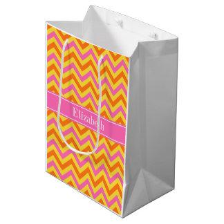 HotPinkのパイナップルカボチャLGシェブロン一流のモノグラム ミディアムペーパーバッグ