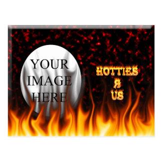 Hotties Rは私達火および炎の赤大理石模様をつけます ポストカード