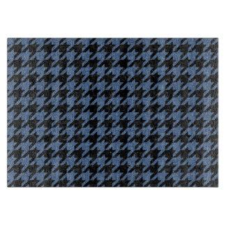 HOUNDSTOOTH1黒い大理石及び青いデニム カッティングボード