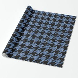 HOUNDSTOOTH1黒い大理石及び青いデニム ラッピングペーパー