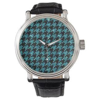 HOUNDSTOOTH1黒い大理石及び青緑色水 腕時計