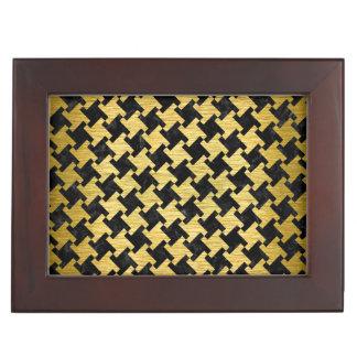HOUNDSTOOTH2黒い大理石及び金ゴールドによってブラシをかけられる金属 ジュエリーボックス