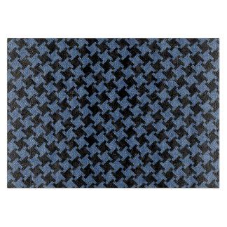 HOUNDSTOOTH2黒い大理石及び青いデニム カッティングボード