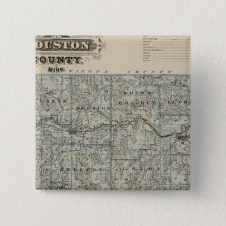 Houston郡、ミネソタの地図 5.1cm 正方形バッジ