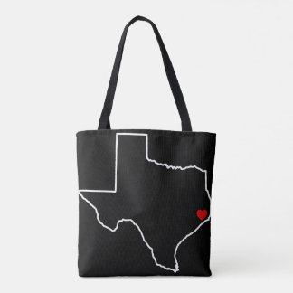 Houston Harvey Relief Texas Outline Red Heart トートバッグ