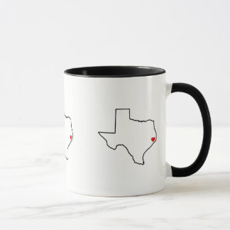 Houston Harvey Relief Texas Outline Red Heart マグカップ