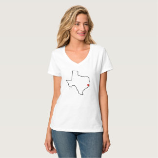 Houston Harvey Relief Texas Outline Red Heart Tシャツ