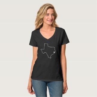 Houston Harvey Relief Texas Outline White Heart Tシャツ