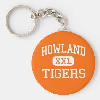 Howland -トラ-高等学校-ワーレンオハイオ州 ベーシック丸型缶キーホルダー