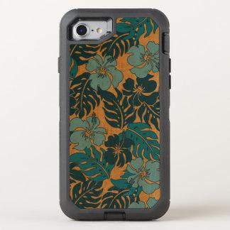 Huakini湾のハワイのハイビスカスのヴィンテージののど木 オッターボックスディフェンダーiPhone 8/7 ケース