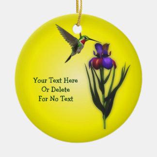 Hummingbird And Iris Flower Personalized セラミックオーナメント