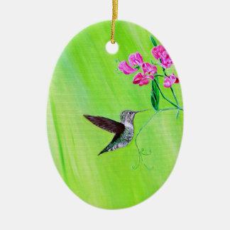 Hummingbird & Sweet Peas セラミックオーナメント