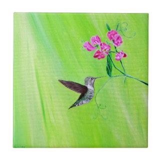 Hummingbird & Sweet Peas タイル