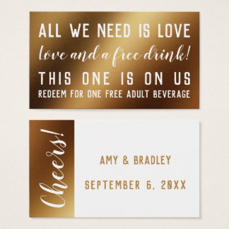 Humorous Drink Tickets in White & Faux Gold Foil 名刺