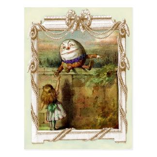 Humpty Dumptyおよびアリス ポストカード