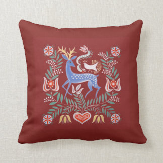 Hungarian Folk Art Deer with Deep Red Background クッション