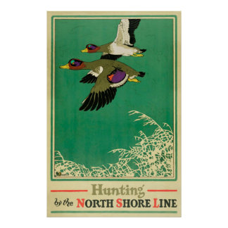 Hunting and Fishing Vintage Poster ポスター