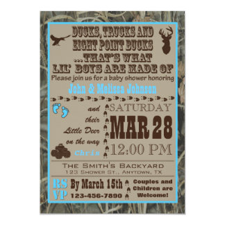 Hunting Camo Baby Boy Shower Invitations Blue カード