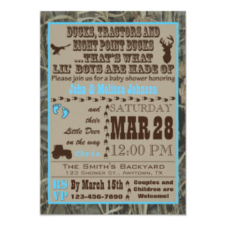 Hunting Camo Baby Boy Shower Invitations Blue Trac カード
