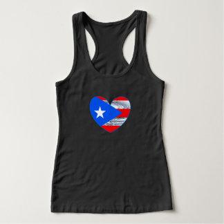 Hurricane Maria 2017 Puerto Rico Flag Heart Shirt タンクトップ